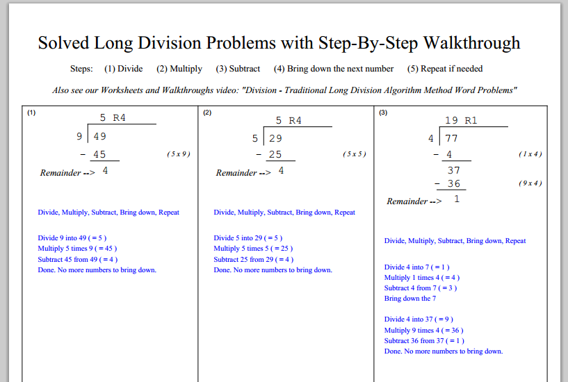 Step By Step Long Division Worksheets Davezan – Step by Step Division Worksheet