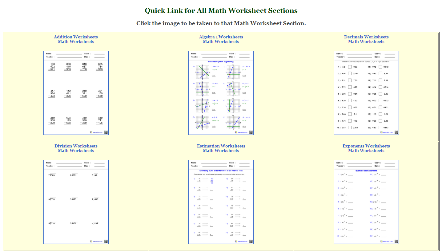 MathAids worksheets – Math Aid Worksheets