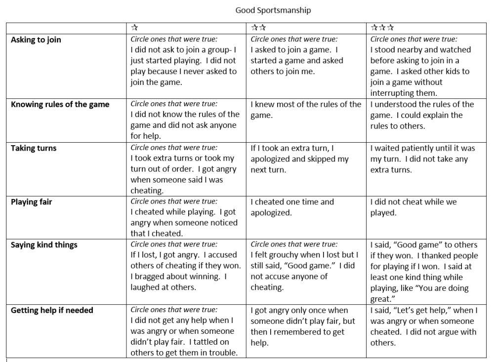 rubric good sportsmanship
